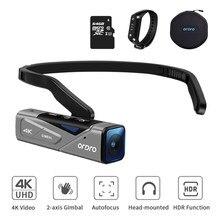 Câmera vlog para vídeos youtube ordro ep7 4k wifi mini cabeça wearable filmadora com cartão sd de memória de controle remoto 64gb
