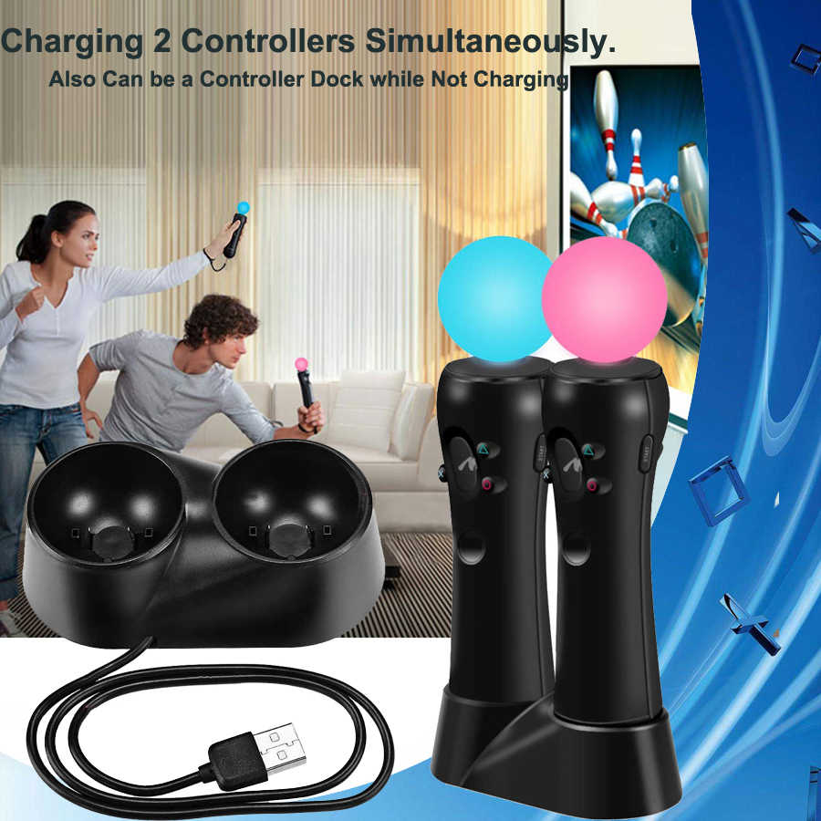 2019 PS4 VR Dual Controller Charger Stand Charging Dock Station for Sony Playstation 4 PS 4 VR PSVR 2 Move Gamepad Accessories