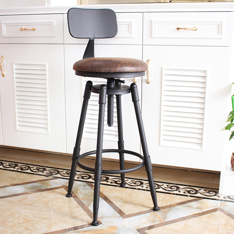 Bar Chair, Bar Chair, Rotary Lift Chair, Solid Wood, High Foot Stool, Iron Back, Domestic Bar Stool, Modern And Simple