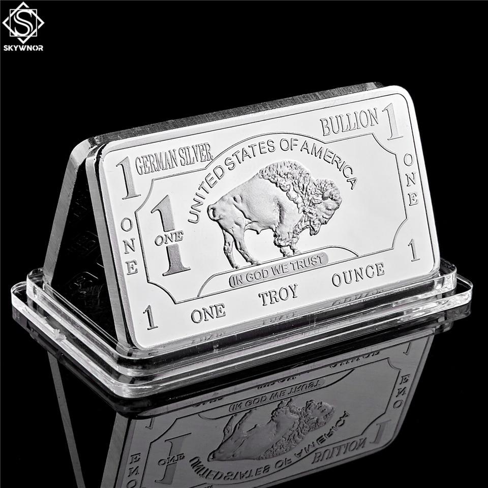 Немецкая мята 1 Трой унция буйвола немецкий Серебряный слиток золота Реплика коллекция монет