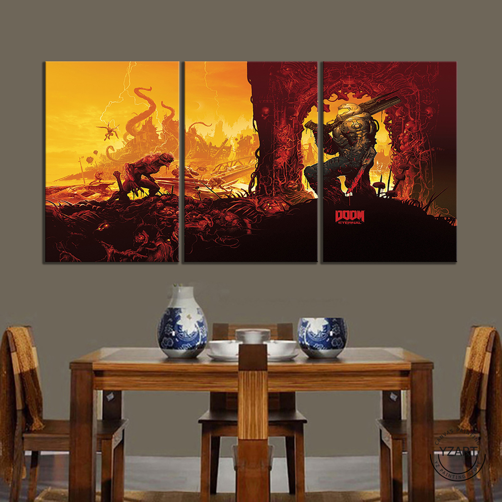 DOOM Eternal Picture Oil Painting Wall Art DOOM Game Poster HD Wall Picture for Living Room Decor 4