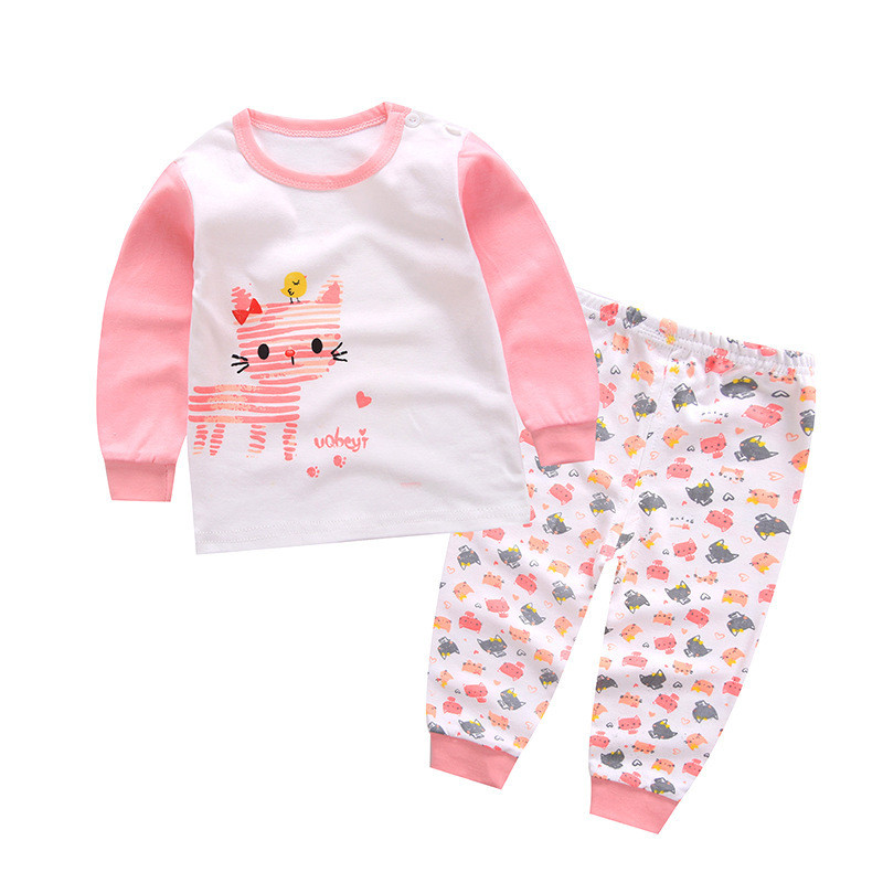 Infant Boy Cotton Clothes Set For Baby Girls Toddler Cotton Long Sleeve Sport Suit Tops + Pants New Baby Cartoon Clothes Autumn