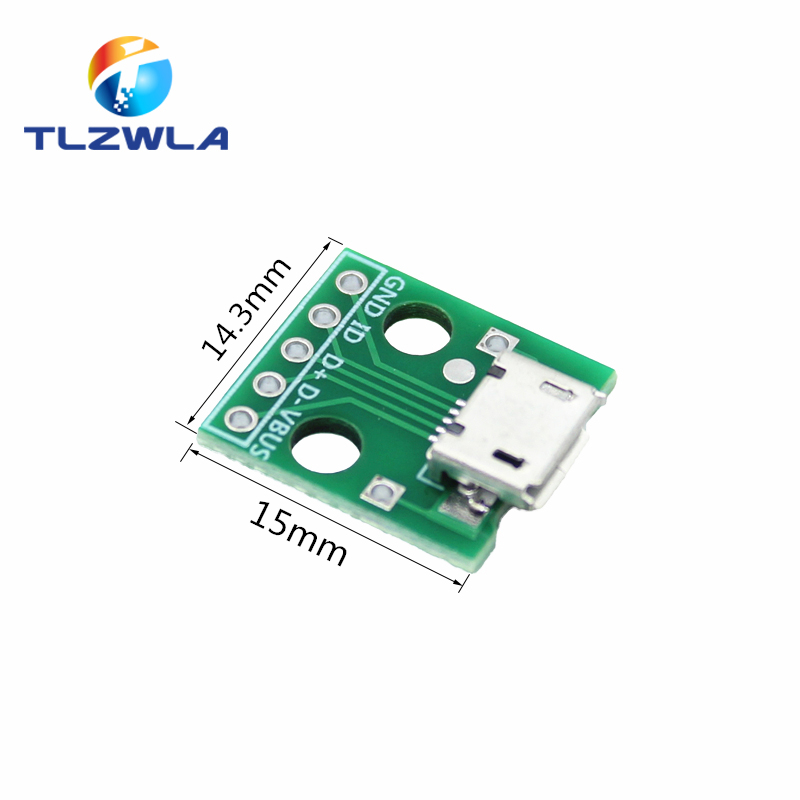 100pcs Micro USB To DIP Adapter 5pin Female Connector Module Board Panel Female 5-Pin Pinboard B Type PCB 2.54 MM