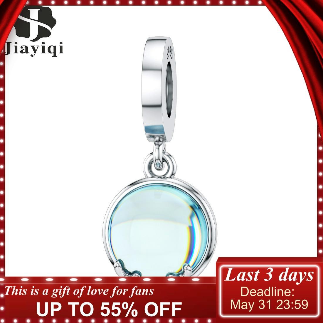 Jiayiqi 925 Sterling Silver Pendant Sky Blue Moonlight Pendant Fit Pandora Bracelet & Necklace DIY Original Female Jewelry Gifts