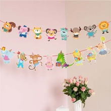 Cute Happy Birthday Bunting Banner Cartoon Animals Hanging Garlands Zoo Theme Party Flag Banners For Boy Girl Kids Gift