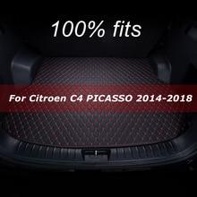 Car trunk mat for Citroen C4 PICASSO five seat 2014 2015 2016 2017 2018 cargo liner carpet interior accessories cover