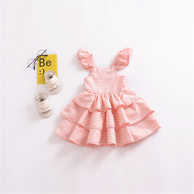 Baby Girls Dresses Children Clothes Kids Ruffled Dress Sundress Summer Party Layered Princess Dress Children Baby clothing цена в Москве и Питере