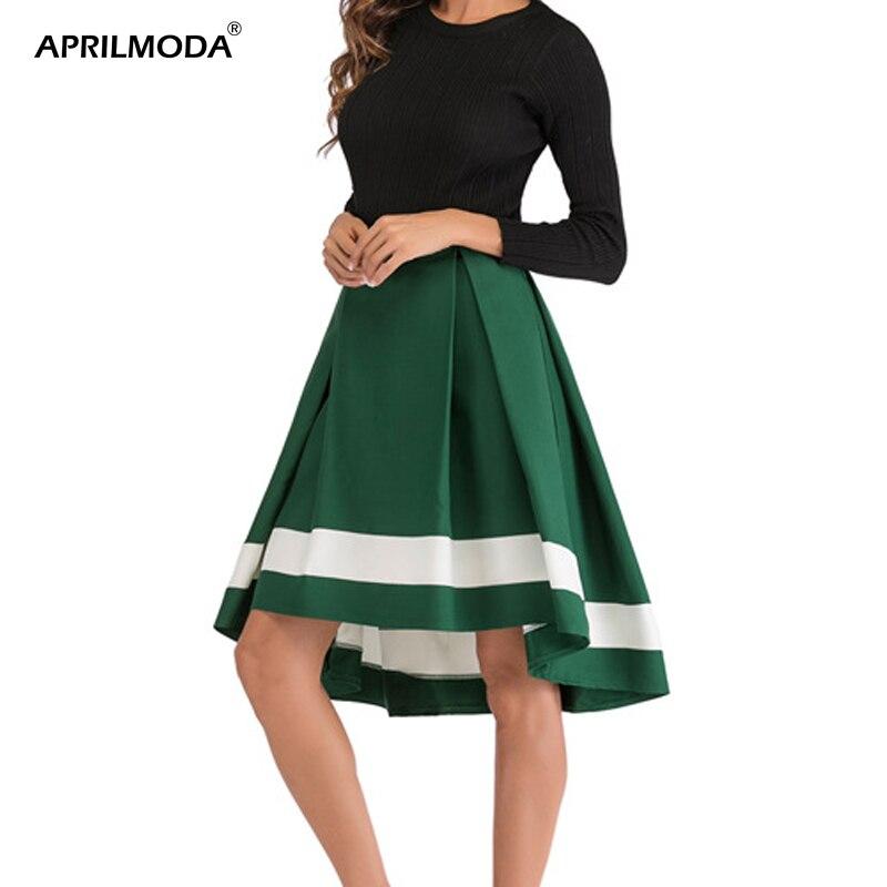 Женская Летняя асимметричная Офисная Женская юбка с высокой талией, плиссированная повседневная юбка, высокая и низкая юбка «Ласточкин