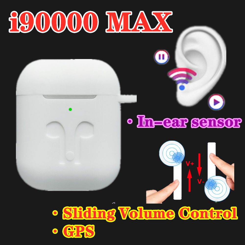 <font><b>Original</b></font> <font><b>i90000</b></font> Max <font><b>TWS</b></font> Air 2 Change Name Position Bluetooth Headset In-Ear Sensor Slide Adjust Volume Pki90000 Pro i10000 i9000 image