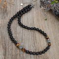 New men's natural tiger's eye stone black gallstone beads do not show steel necklace fashion casual jewelry 45/50/60mm