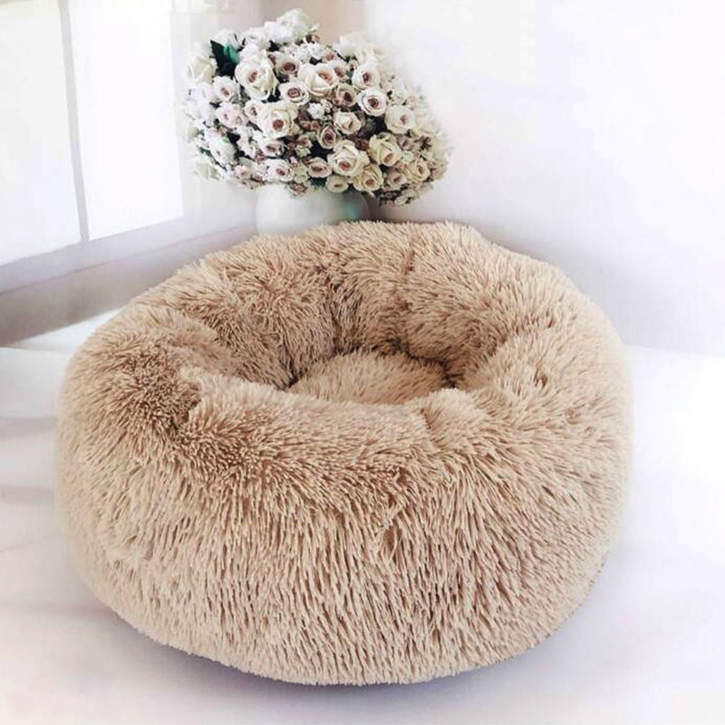 United States Dropshipping Round Dog Beds Winter Warm Long Plush Sleeping Beds Soild Color Soft Pet Dogs Cat Mat