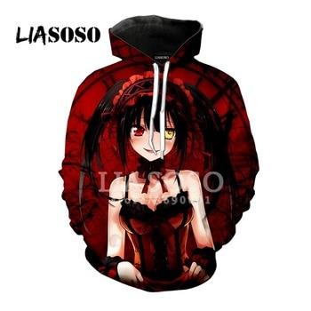 LIASOSO 3D Print Anime Sweatshirt Hoodie Date A Live Yatogami Tohka Tokisaki Kurumi Man Women Hoodies  Casual Harajuku Clothes 2