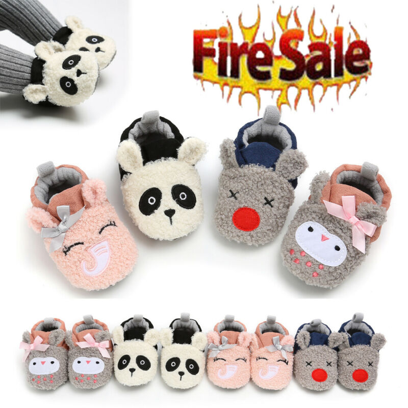 Newborn Nfant Child Kid Baby Winter Shoes Boys Girls Cartoon Soft-Soled Slippers Shoes Warm Lamb Cribs Shoes
