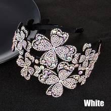 Serre-tête en cristal avec fleur pour femmes, large bandeau avec strass, éponge rembourrée
