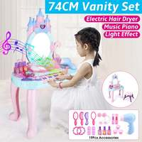 74CM Height Kids Vanity Set Children's Dressing Table Dream Dresser Role Playing Toys With Mirror Piano Hair Dryer Mini Chair