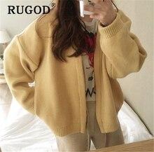 RUGOD Korean chic solid cardigan sweater 2019 new elegant long sleeve auturm winter warm thick streetwear coat Harajuku