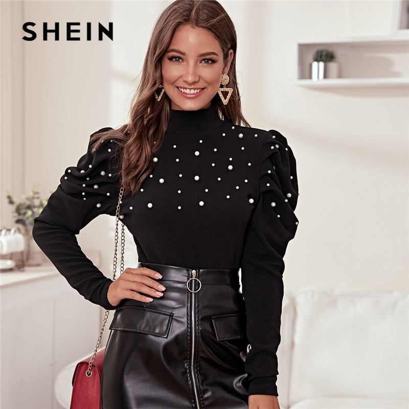 SHEIN Stand Collar Black Pearl Beading Elegant Blouse Women Autumn Leg-Of-Mutton Sleeve Buttoned Back Ladies Blouses And Tops 1