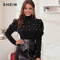 Shein gola preta pérola miçangas elegante blusa feminina outono perna-de-carneiro manga abotoada voltar blusas e topos das senhoras