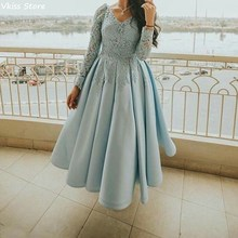 Dress Gala Formales African Plus-Size Short Light-Blue Laces Long-Sleeve Simple Vestidos