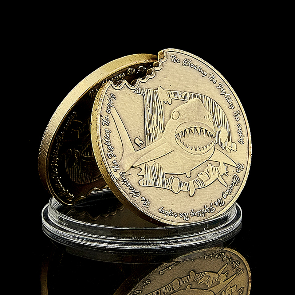 2020 The Big White Shark Bronze Coin Na Cheating Na Fighting Na Crying Commemorative Coin Environment Protection