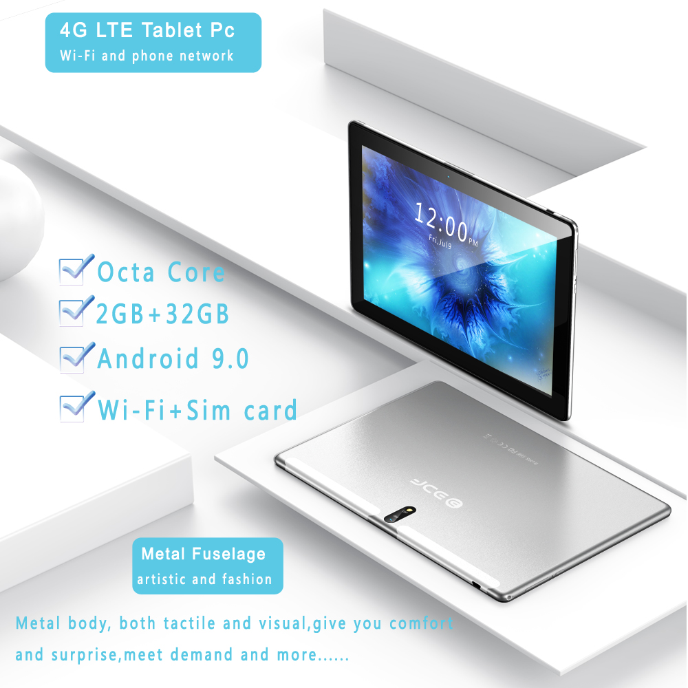 New Tablet Pc 10.1 Inch Android 9.0 Tablets Octa Core Google Play 3G 4G LTE Phone Call GPS WiFi Bluetooth 10 Inch Glass Panel 4