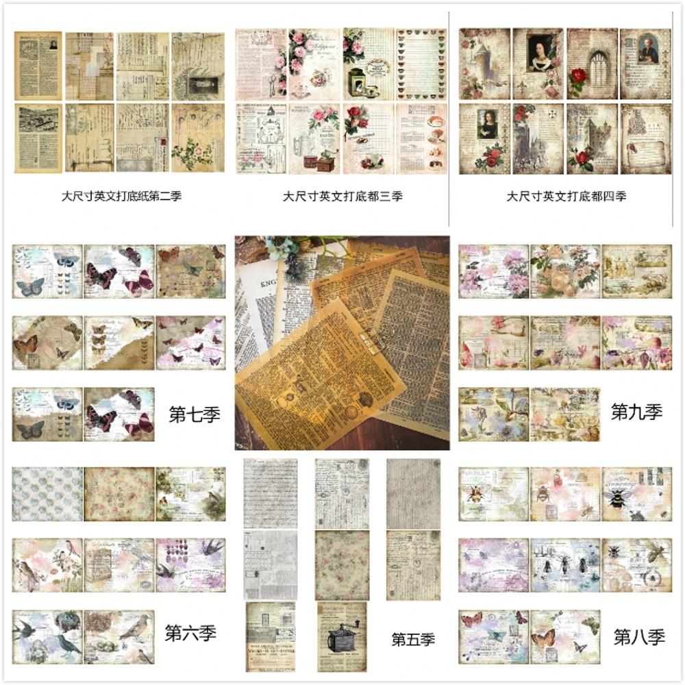 Pack de papier vélin, lettres anglais Vintage, pour Scrapbooking, cartes de planificateur heureux, fabrication de journaux cochonneries, 8 pièces/ensemble