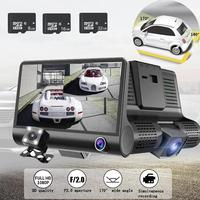 TOSPRA Car DVR 3 Cameras Lens 4.0 Inch Dash Camera Auto Registrator DVRs Dash Cam Dual Lens With Rearview Camera Video Recorder