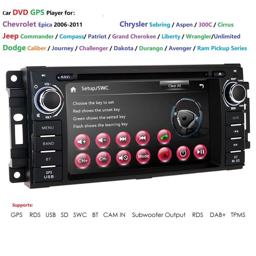 Car DVD for Jeep <font><b>Cherokee</b></font> 2009 <font><b>2008</b></font> 2010 Wrangler Dodge Commander/Compass/<font><b>Grand</b></font> <font><b>Cherokee</b></font> Journey/Durango/Challenger stereo radio image