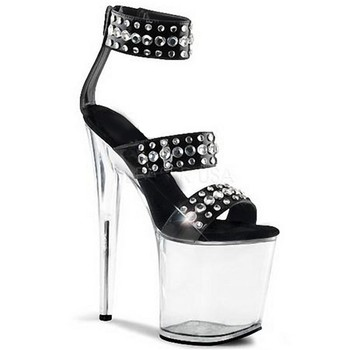 Sexy fashion high heel sandals, rivet vamp transparent waterproof platform, 20 cm high heel steel dance sandals