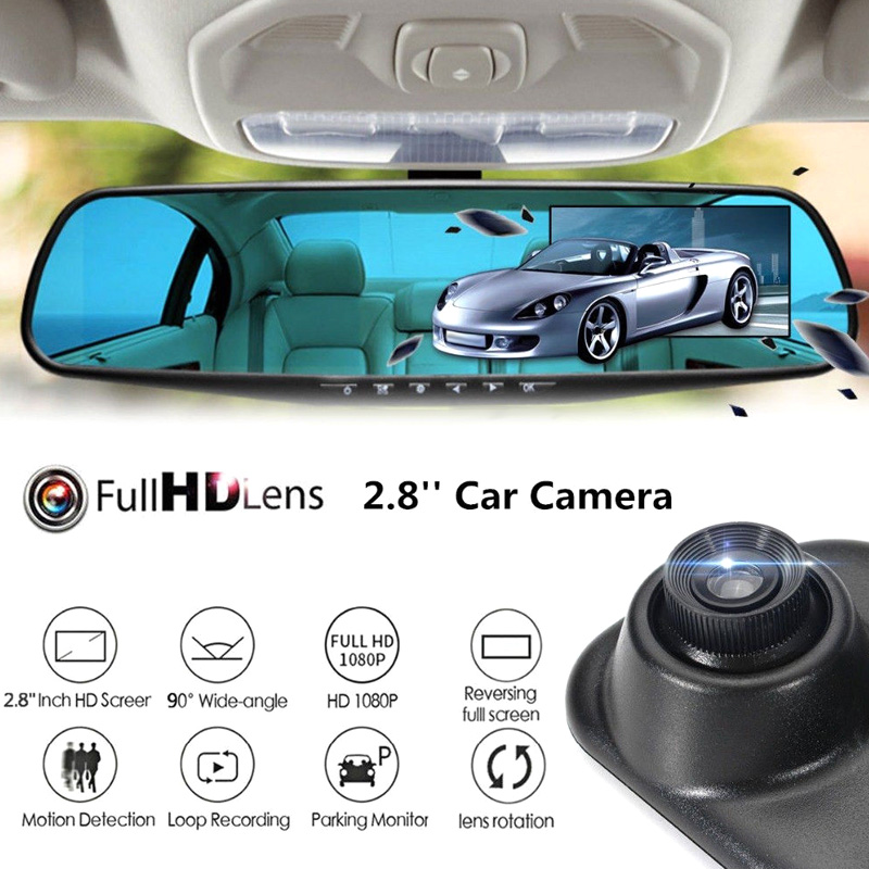Full HD 1080P Car Dvr Camera 2.8Inch LCD Display Screen Rearview Mirror Digital Video Recorder Microphone Night Vision Camcorder(China)