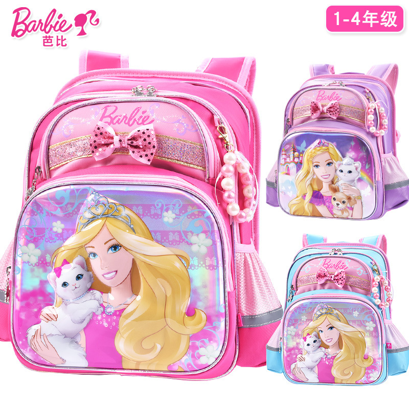 Barbie School Bag Young STUDENT'S Girls 1-3-4 Grade Princess Burden Relieving Spine-6-12 A Year Of Age Children Backpack