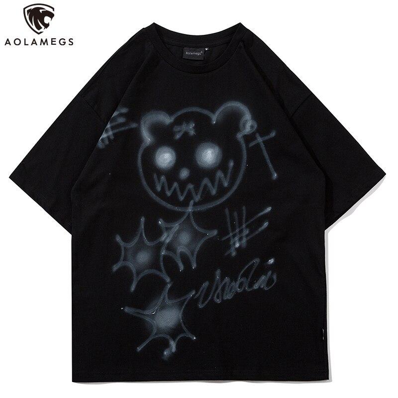 Aolamegs Men's T Shirt Hip Hop High Street t shirt men O-Neck Cartoon Funny Print Harajuku Loose Tees Summer Fashion Streetwear