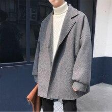 Winter New Woolen Coat Men Fashion Solid Color Casual V-neck Jacket Man Streetwear Versatile Loose British Wind