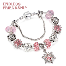 HOMOD Crystalized Snowflake Charm Bracelets For Women Love Beads Fit Brand & Bangles DIY Making Jewelry Accessories