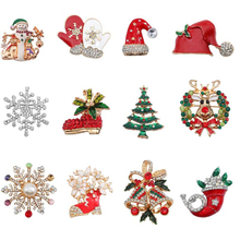цена на Glamour Christmas Brooch Women's Classic Metal Colorful Rhinestones Snowflakes Elk Boots Pins Christmas Jewelry Gifts
