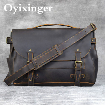 Handmade Men Messenger Bag Retro Crazy Horse Cowhide Men's Briefcase Designer High Quality Genuine Leather Male Shoulder Bag Sac handmade cowhide crazy horse genuine leather shoulder bag retro briefcase handbag for man men bussinss document case