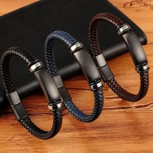 Woven bracelet men's birthday new luxury stainless steel accessory leather combination 3 colors men's bracelet(China)