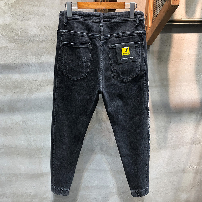 Mens Jeans Brand Dark Gray Stretch Jogger Jeans Men Pants Harem Streetwear Drawstring Waist Side