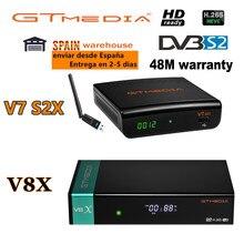 Mais novo gtmedia v8x receptor gtmedia v7 s2x atualizado por gtmedia v8 nova honra DVB-S2 freesat v9 super h.265 hd construído em wi-fi