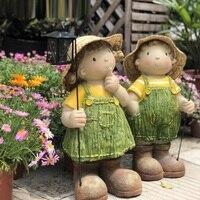 Lantern Light Doll Dwarf Decor Nursery Tale Boy Girl Statue DIY Courtyard Balcony Sculpture FRP Crafts Garden Decoration R4653