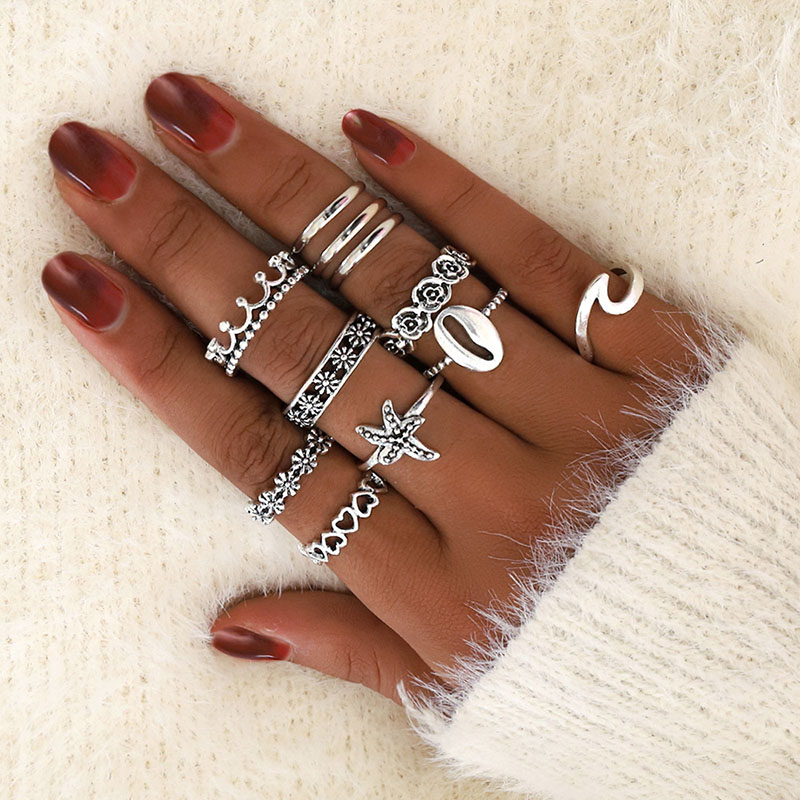 Modyle Shell-Branch-Rings-Set Crown Starfish Wedding-Jewelry Finger Fashion-Ring Geometric title=