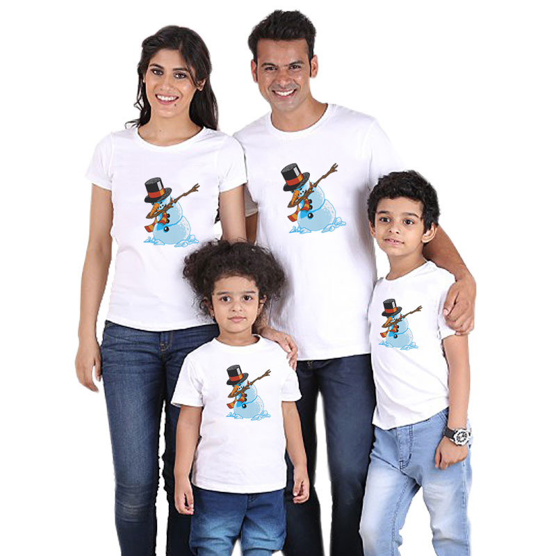 Snowman Christmas Family Matching Clothes Tshirts Father Mother Daughter Son Christmas Dabbing Santa Clothes Party Wear