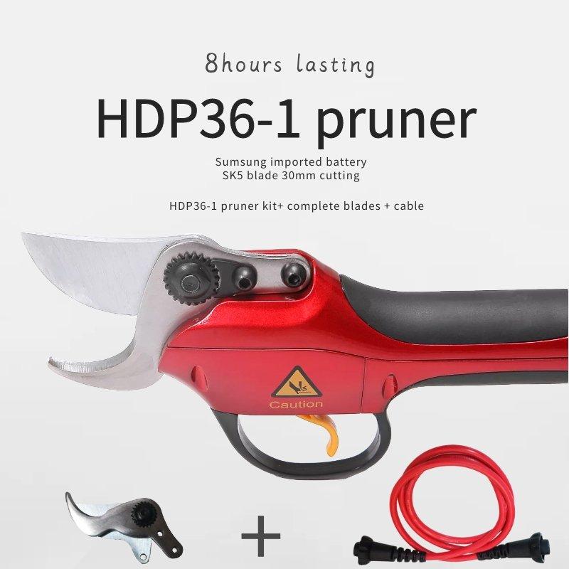 Tijera de podar eléctrica Orchard HDP36-1 con un par completo de cuchillas y un cable de repuesto