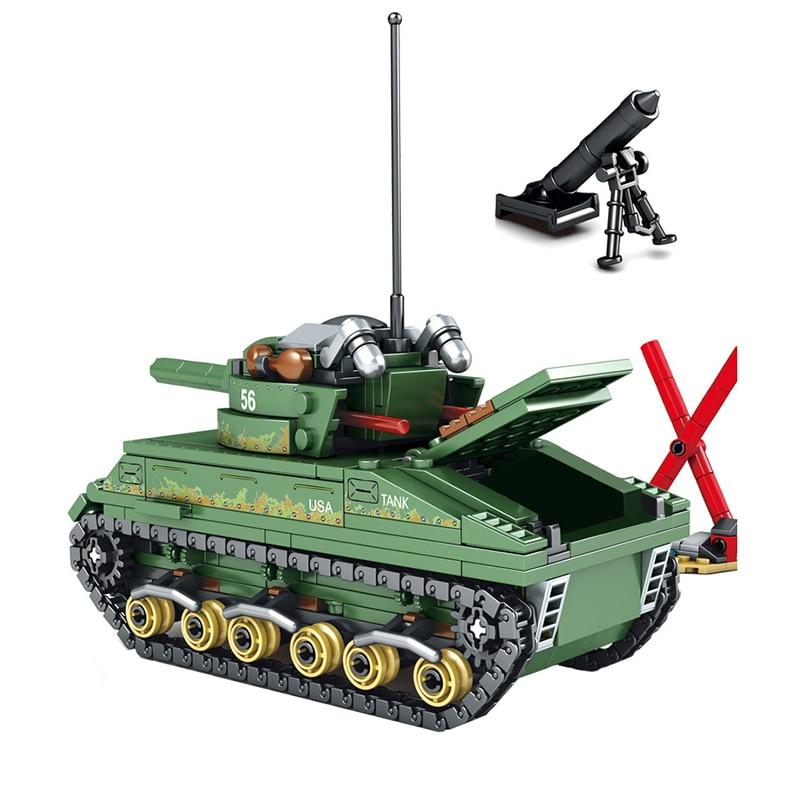 Military Soldier Figure Tank Building Bricks Blocks Sherman Constructor Kids Toy