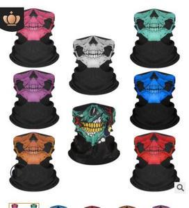 Venta al por mayor, 2000 unidades por lote, Serie de bufanda con diseño de Calavera, máscara de media cara de tubo, diadema de Halloween, Bandana, pañuelo para la cabeza de la bicicleta