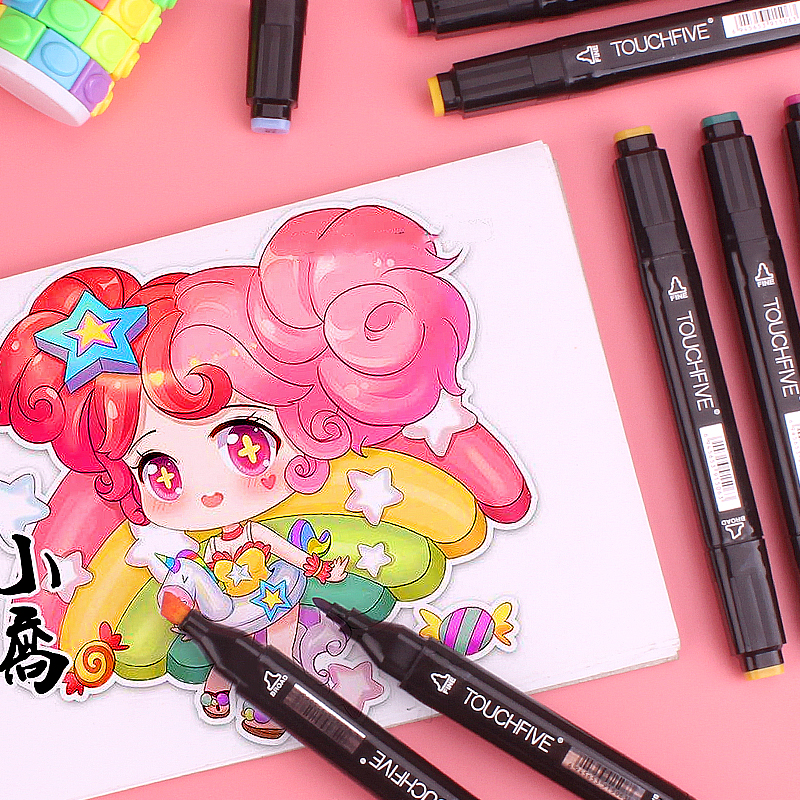 Hot DealsTOUCHFIVE Twin Marker Pens Art-Supplies Graphic-Manga Graffiti Broad Sketch Fine-Point