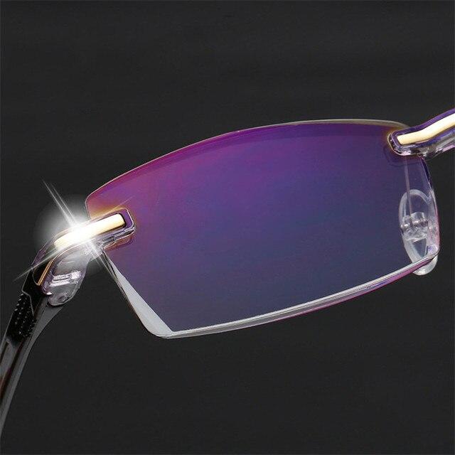 Ahora Anti Blue Light Blocking Rimless Reading Glasses Women Men Square Frameless Presbyopic Glasses Diopters +1.0 1.5 2 2.5 4.0 6