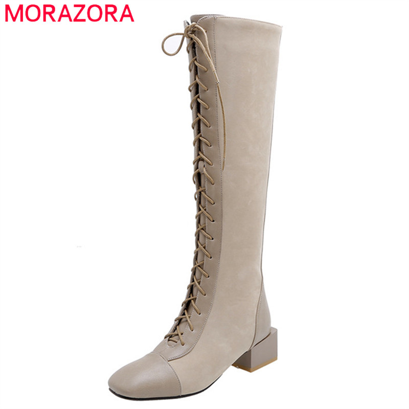 MORAZORA 2020 Top Quality Genuine Leather +flock Knee High Boots Women Lace Up Zip Autumn Winter Boots Woman Square Heels Shoes