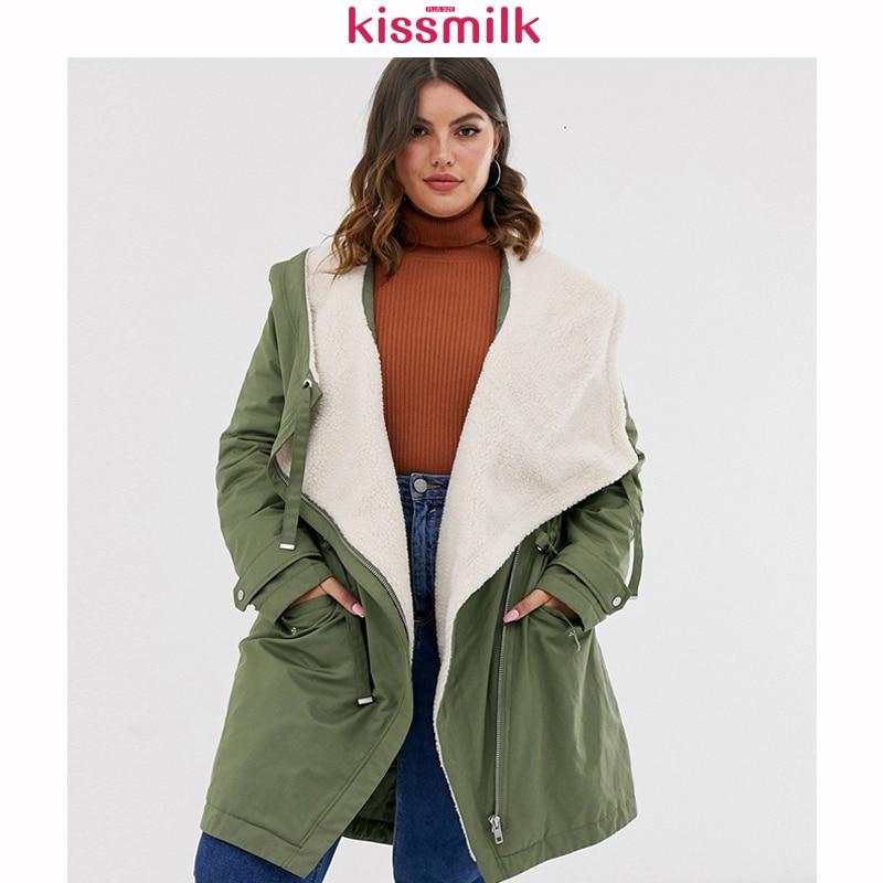 Kissmilk 2020 New Winter Large Size Simple Leisure Cashmere Lamb Warm Cap Lapel Rope Long-sleeved Cotton Suit