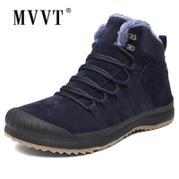 MVVT Size 47 Suede Leather Boots Men Winter Boots With Fur Waterproof Snow Boots Keep Warm Men Footwear